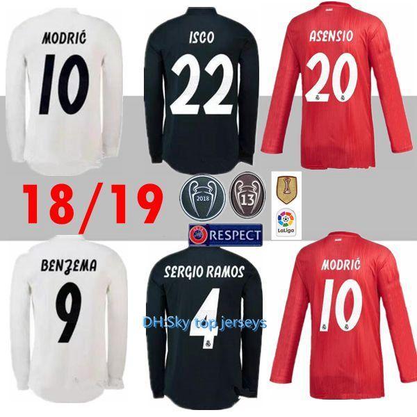 eefed575a9 Compre 18 19 Real Madrid Camisas De Futebol De Manga Longa Casa Longe  MODRIC 2018 2019 BALE ASENSIO KROOS ISCO BENZEMA Terceiro Uniforme De  Futebol Vermelho ...