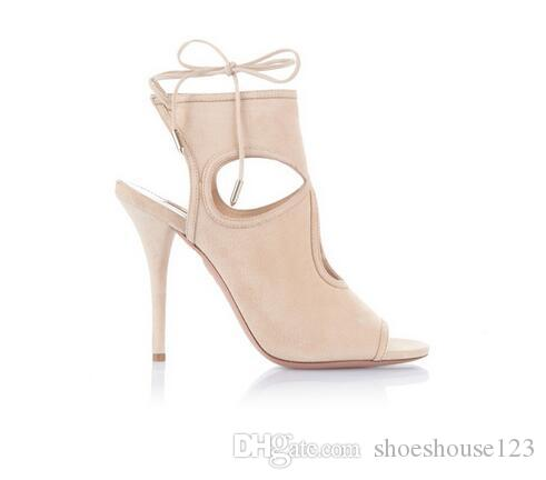 176eee4244e9d Beige Red Suede Women Gladiator Sandals Rome Style Lace Up Women Pumps  Summer Cut Outs High Heels Women Shoes Wedding Shoes Wedges From  Shoeshouse123, ...
