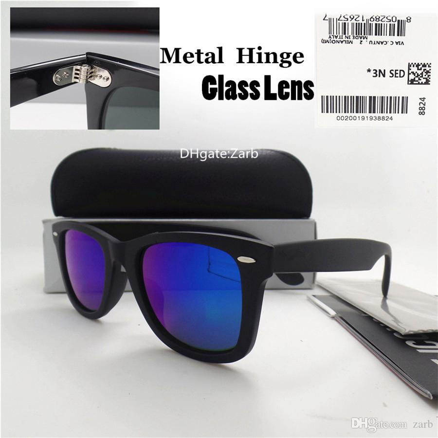 Luxury Glass Lens Men Women Sunglasses UV400 Plank Frame Hinge Eyewear 52MM Shade Side Vintage Tint Eyeglass Test Oculos Flat With Box Case