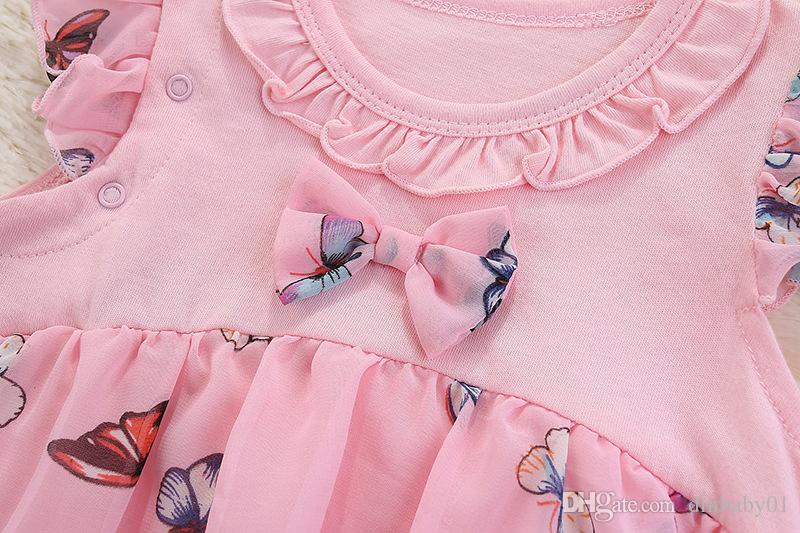 Girl dresses butterfly lace bowknot cotton summer children clothing short sleeve baby clothes newborn bodysuit With With Headband age 0~2T