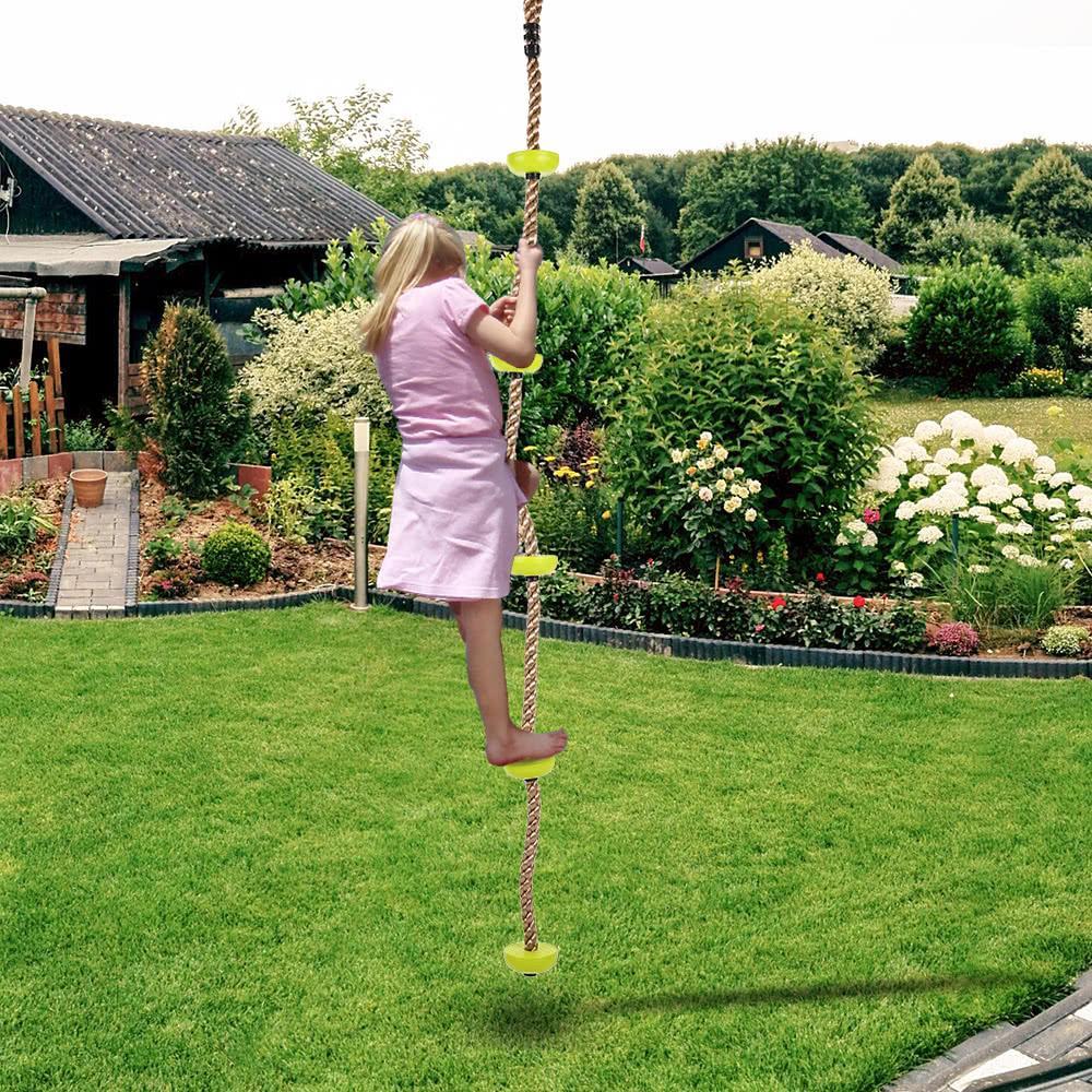 Kids 2m Climbing Rope Ladder Swing Set Platforms Garden Playground
