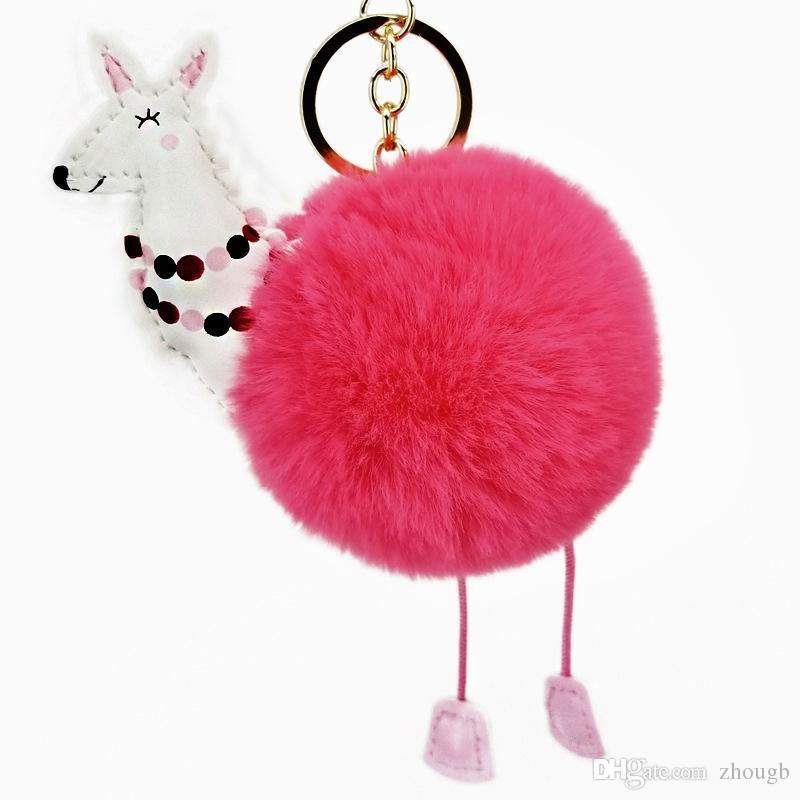 2018 New Women Rabbit Hair Fur Ball Keychain Cute Pony Girl Handbag  Accessories Key Chain Pompom Bag Accessory Batman Keychain Fur Keychain  From Zhougb 97741cec46