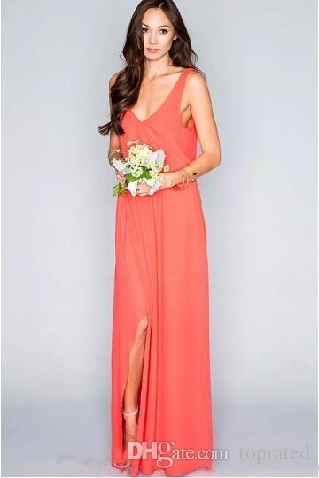2019 frete grátis elegante coral vestidos de dama de honra chiffon até o chão boho party dress para praia do país do casamento plus size custom made
