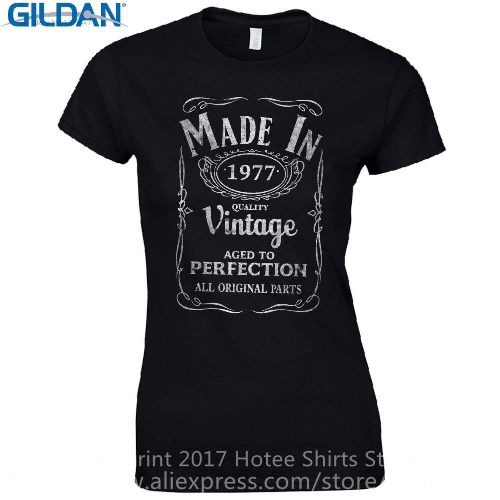 44a99e471 Offensive T Shirts Short Sleeve Top Crew Neck Womens Made In 1977 Fitted -  Born 40Th Year Birthday Present Funny Gift T Shirt Online with $12.98/Piece  on ...