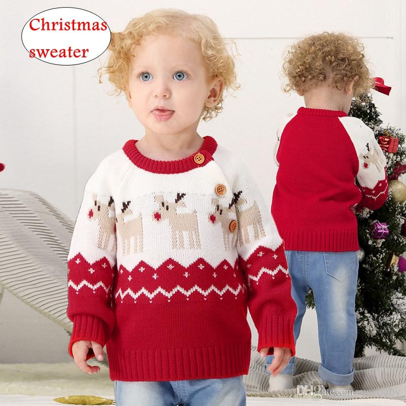 Infant Christmas Sweaters Baby Boys Girls Deer Print Knitted Tops