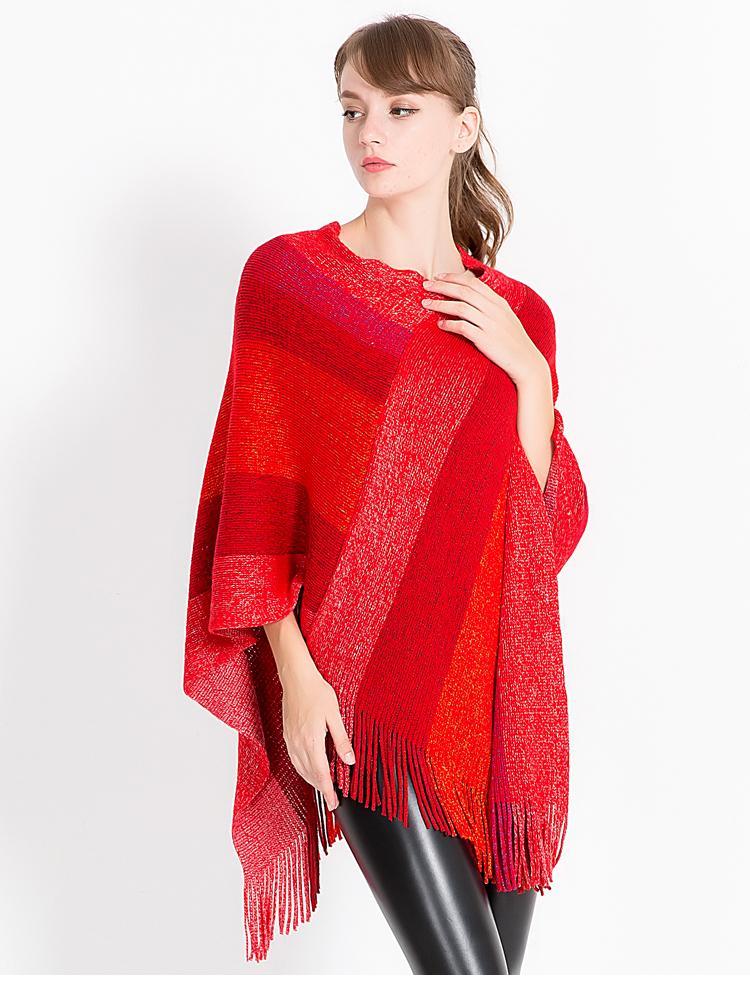 2018 Nueva Moda de Algodón Bufanda de Invierno de Las Mujeres de Lana Suave de punto Pashmina Warm Striped borla Mantones hembra Rojo Negro Poncho Capas