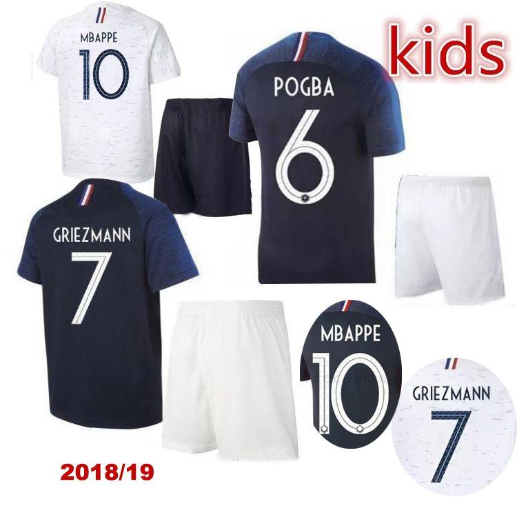2b5b5d5765c Kids  6 POGBA Soccer Jerseys 2018 World Cup Maillot De Foot ...