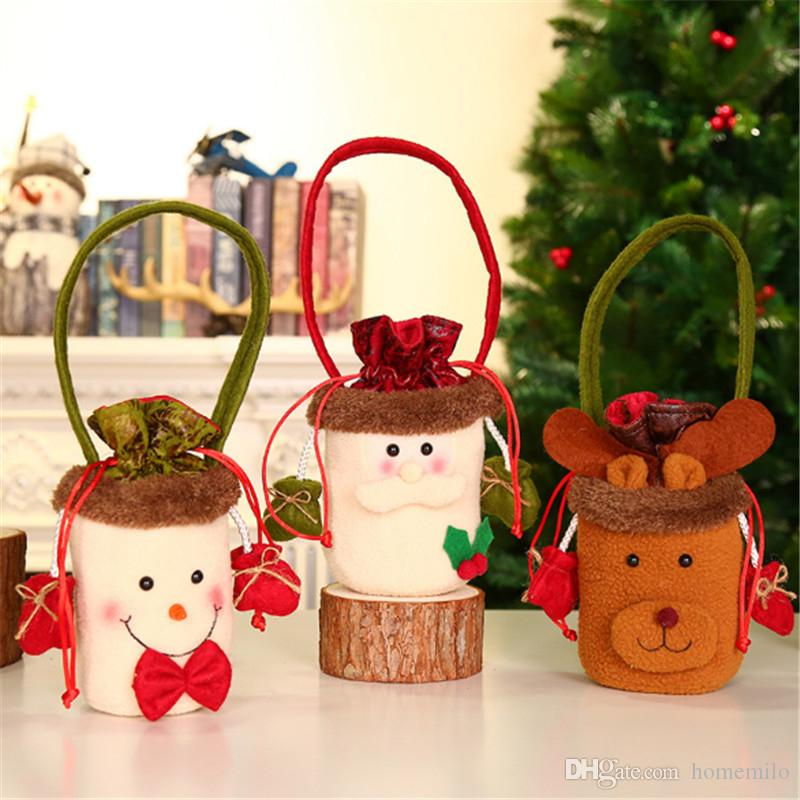 christmas gift bag for candy christmas ornament santa claus snowman elk drawstring bags perfect christmas decorations custom christmas ornaments deco - Candy Christmas Decorations