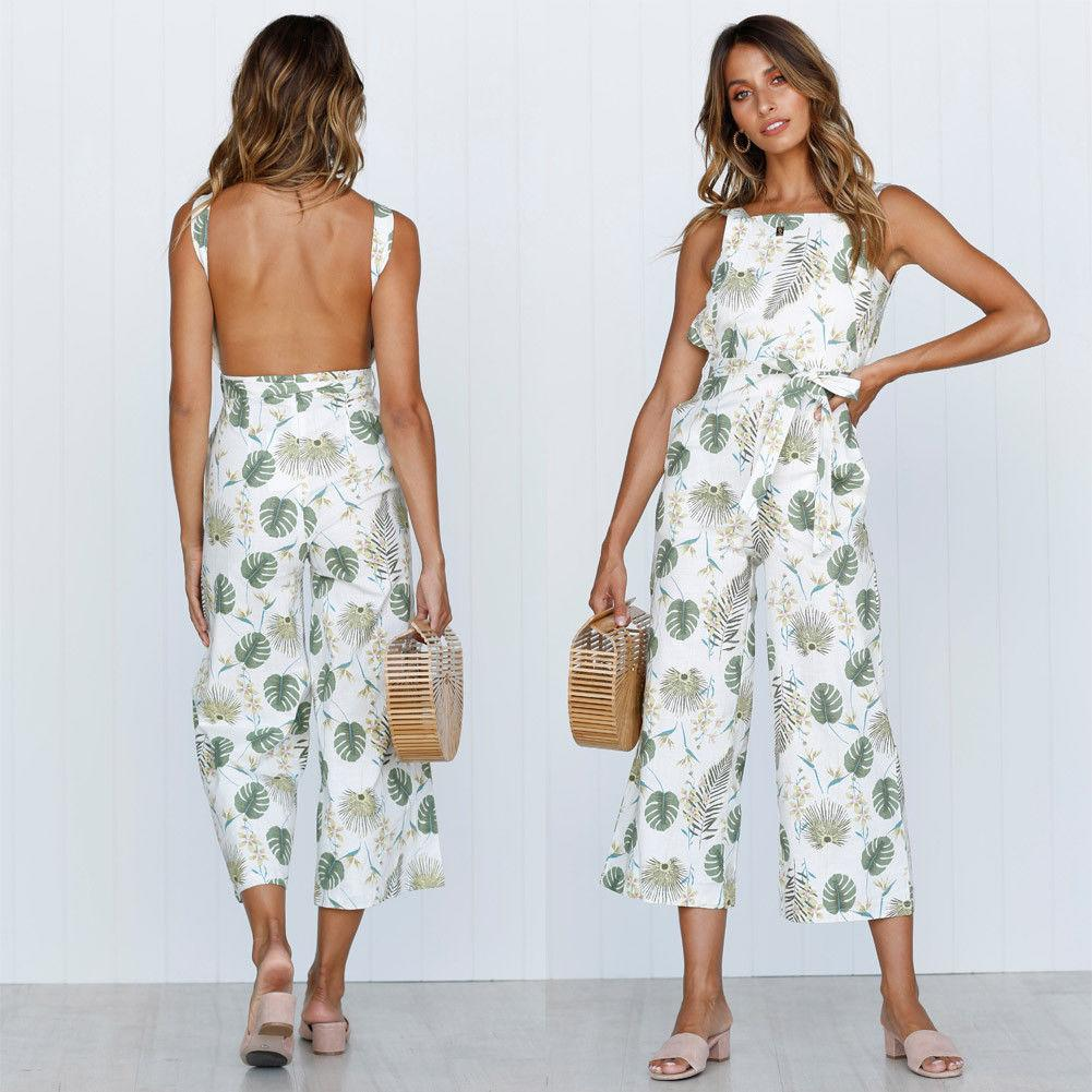 2f441cd4d87d 2019 Women Spaghetti Strap Wide Legs Bodycon Backless Jumpsuit Romper V  Neck Trousers Clubwear Floral Print Summer Leotard From Oott