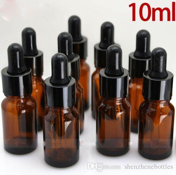 Gorąca sprzedaż Bursztynowa 10ml Pustych butelki kroplowej szkła ciekłego z czarnymi czapkami szklane końcówki dla olejku eterycznego 10 ml