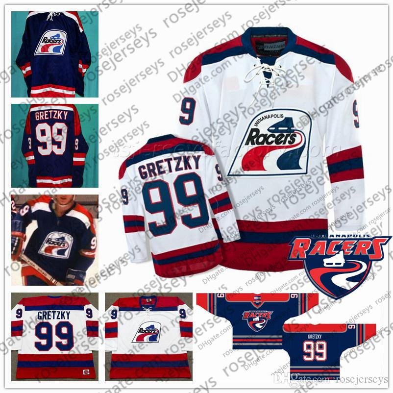 finest selection 0304d 6a40c Custom WHA Indianapolis Racers Ice Hockey Jersey #99 Wayne Gretzky Navy  Blue White 1978-79 Vintage 100% Stitched any number name S-4XL