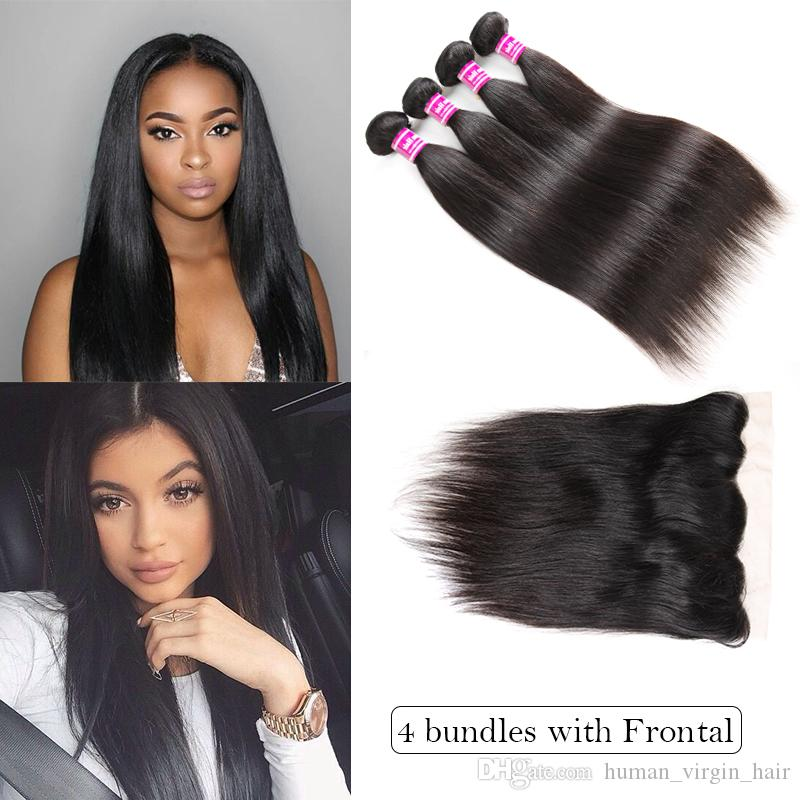Top Selling Brazilian Virgin Hair Vendors Straight Human Hair Weave Bundles  With Lace Closure Ear To Ear Frontal Remy Hair Extensions Wefts Hair Weft  ... f601017b6