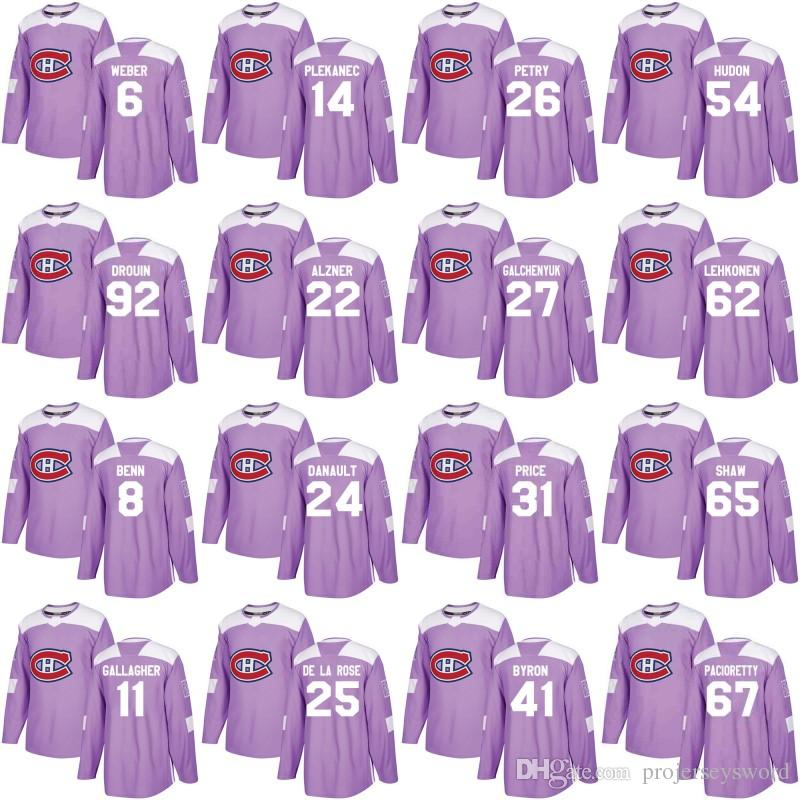 Montreal Canadiens Jersey Purple Fights Cancer Practice 65 Andrew Shaw 31 Carey Price 67 Max Pacioretty 92 Jonathan Drouin Hockey Jerseys