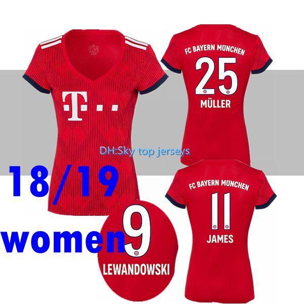 ebe118f8fed94 18 19 Bayern Múnich Camiseta De Fútbol De James Mujer Casa Rojo 2018 2019  VIDAL LEWANDOWSKI MULLER ROBBEN TOLISSO Camisetas De Fútbol HUMMELS Por ...
