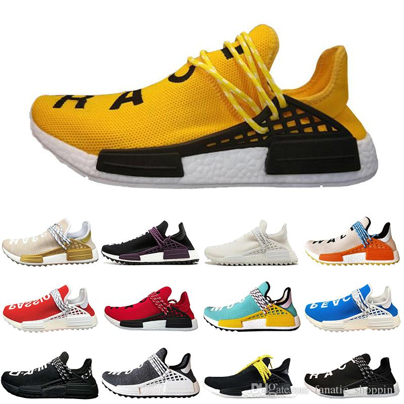 2018 Human Race Running Shoes Pharrell Williams Equality Cream Holi Core Blank Canvas Sun Glow Yellow Trainer Sports Sneakers Size 36-45