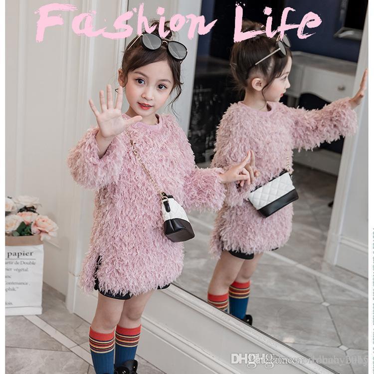 6fb504319 Compre 2018 Otoño Nueva Ropa Infantil Para Niñas Suéter De Lana Niños Felpa  Abrigo Largo Niña A $14.08 Del Worldbaby2015 | DHgate.Com