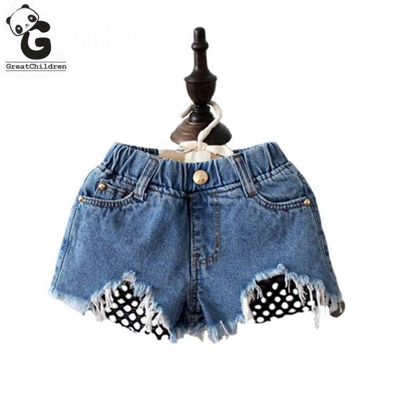ece2e24e8e21 Compre Niñas Jeans Agujeros Pantalones Cortos Ripped Jeans Para Niñas Ropa De  Niños Niña 8 Años Pantalones De Mezclilla Niños Pantalones De Encaje De ...