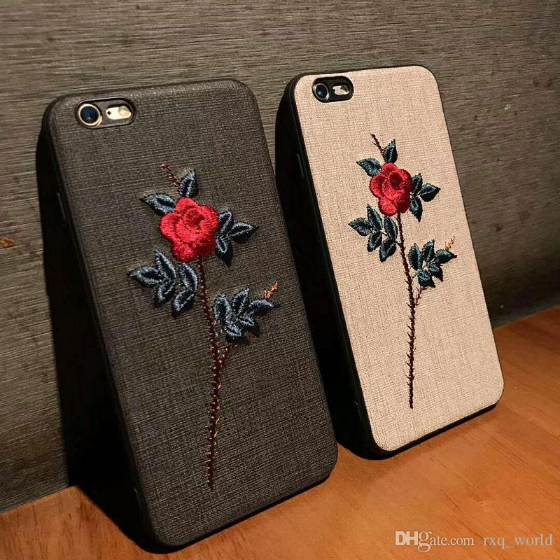 san francisco a9391 59f63 2018 Mobile Phone Cases New Design 3D Embroidery Low-key luxury Protect  Cover Shockproof Soft For Iphone 6 7 8 Plus X Free Sample