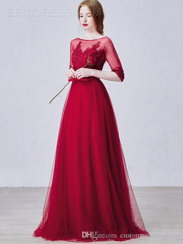 red lace appliques a-line evening dress with half sleeve 2018 new arrival formal long prom dresses bow sexy vestido de festa