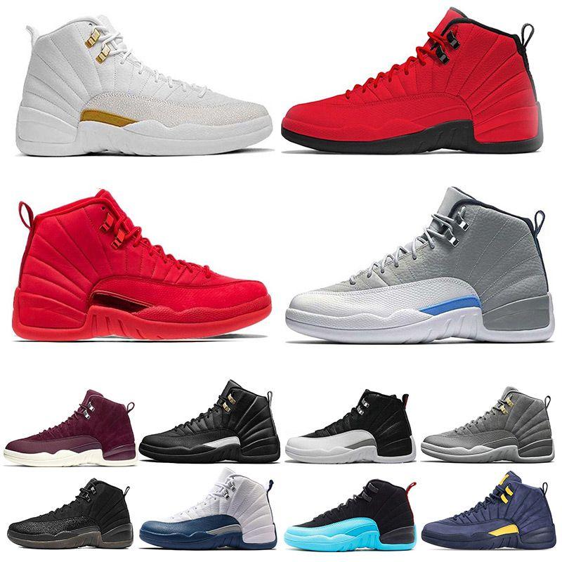 98de353140013c Classic Mens 12 12s Basketball Shoe Gym Red Michigan Flu Game ...