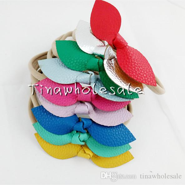 5 styles hot Leather Bow Nylon Headband,Leather Bows Baby Headbands,Girls And Kids Nylon Hair Accessories 30pcs/lot