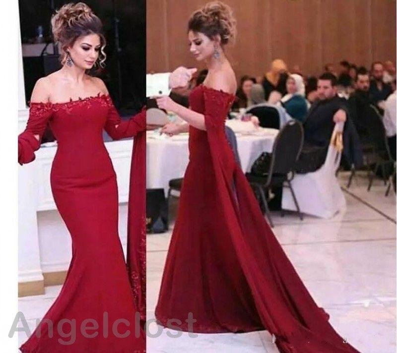 Koyu Kırmızı Mermaid Abiye 2019 Kapalı Omuz Kısa Kollu Kat Uzunluk dantel Aplikler Zarif Balo Parti Abiye Custom Made Arapça