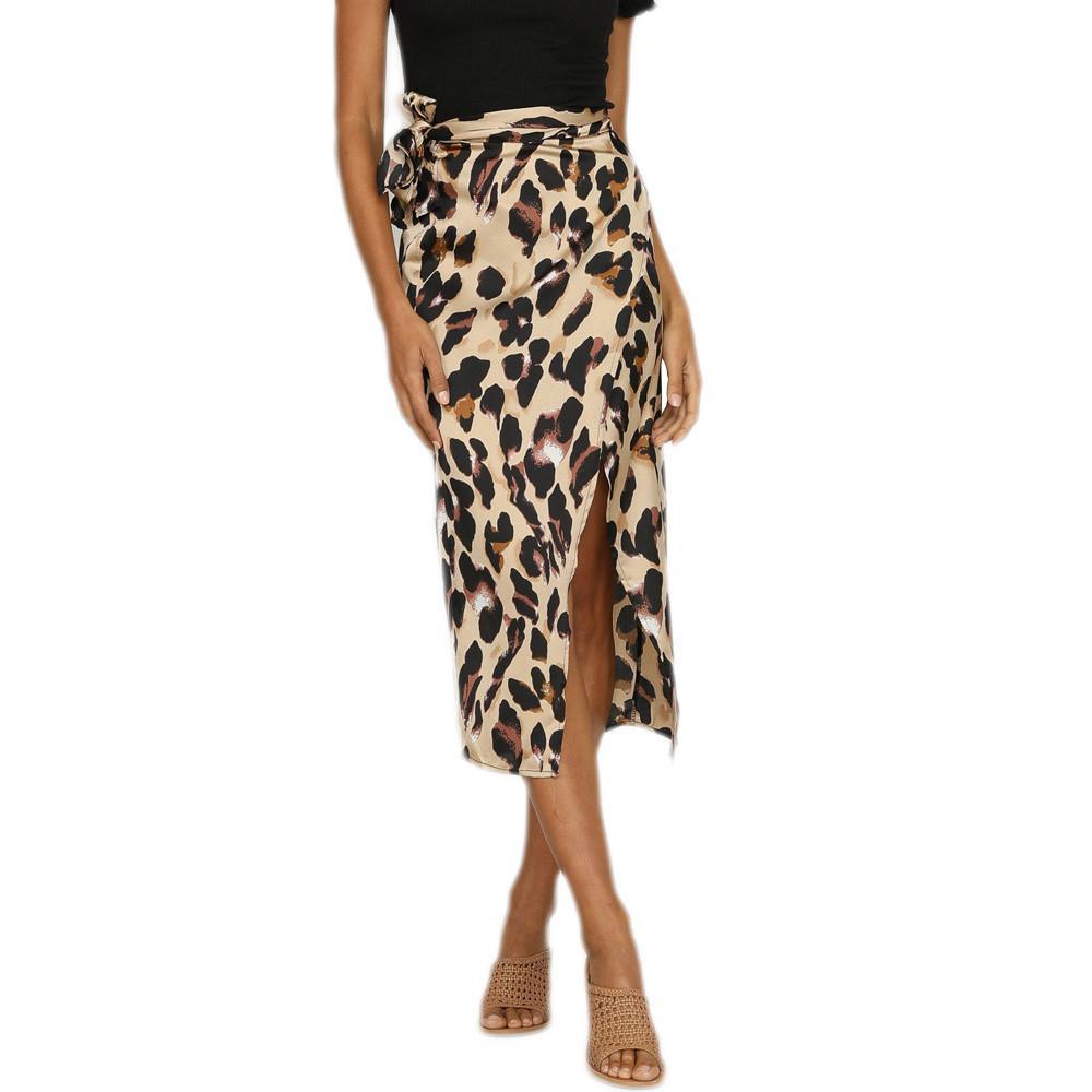 94eb441c3a947a 2018 Summer Style Jupe Crayon Femmes Taille Haute Mode Femmes Sexy  Angleterre Leopard Imprimé Split Bandage Soirée Jupe