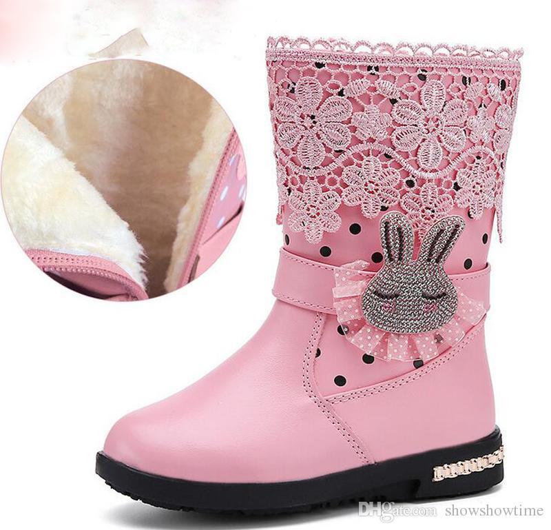 S59 Otoño invierno nuevas botas de niña de flores estereoscópicas encantadoras botas de conejo antideslizantes y cálidas Princesa botas de cuero Zapatos de lujo de encaje