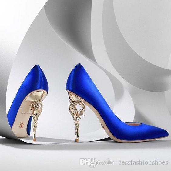 Ralph Russo Collection Haute Couture CHAUSSURES bleu satin POMPES BAROQUES EMERAUDE SATIN AVEC JAUNE OR TALON Chaussures de mariage pour les mariées modernes