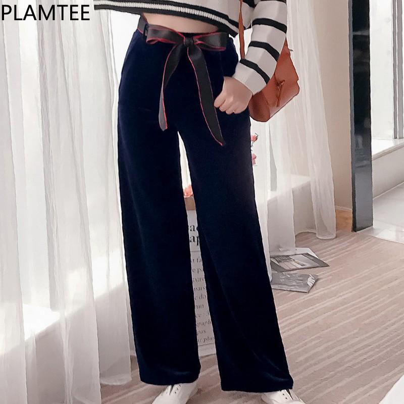 Bottoms 2018 Autumn And Winter New Gold Velvet Wide-leg Pants Women Thick High Waist Drop Loose Micro-straight Pants