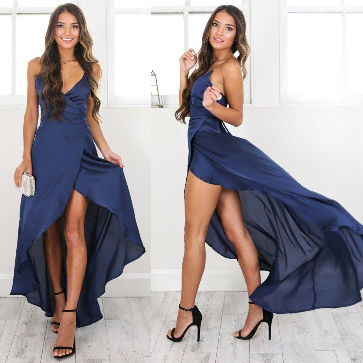 becbd005cb7 Women BOHO Beach Dress Solid Blue V Neck Sexy Sleeveless Backless Lady  Evening Party Maxi Dresses Cocktail And Party Dresses Long Dress Summer  From Modeng04 ...