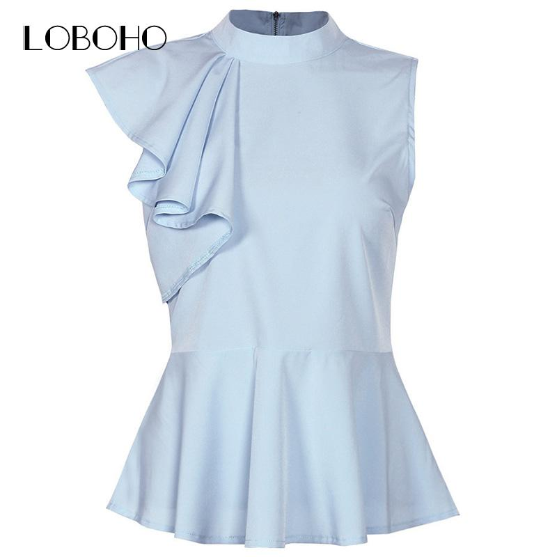 c3348d8f5fa91 2019 2018Womens Peplum Tops And Blouses Summer 2018 New Arrival Ruffle  Blouse Sleeveless Streetwear Elegant Women Shirts White Blue Red From  Z6241163