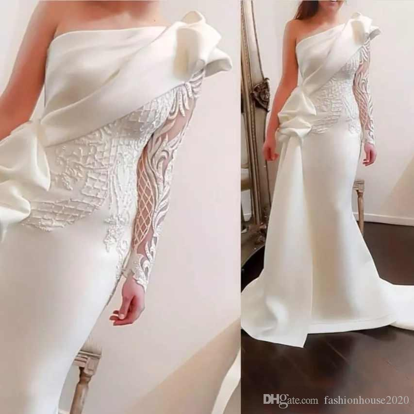 1edb3caf257 2018 New Sheath White Prom Dresses One Shoulder Lace Appliques Embroidery  Long Sleeves Arabic Dubai Ruched Formal Evening Party Gowns Custom Prom  Dresses ...