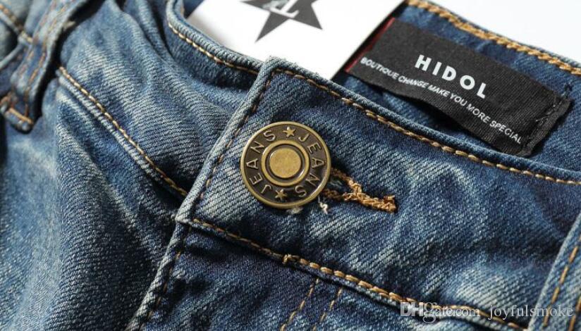 Европейский и американский Хай-стрит сломанные отверстия носить обратно старые синие джинсы уличные нищие брюки и прилив мужчины