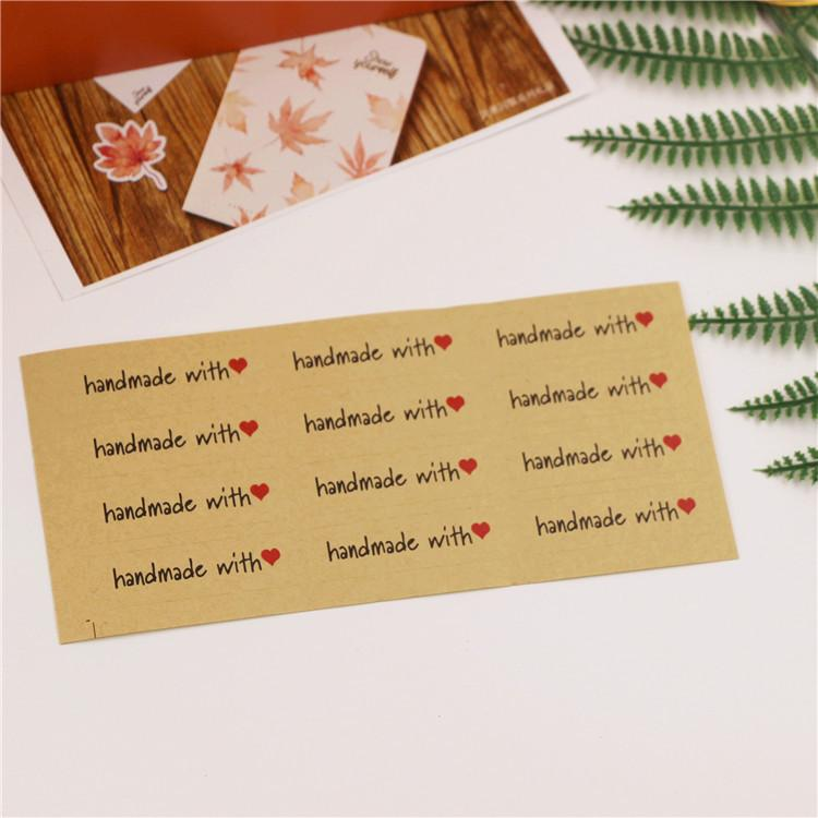 """Hand made with heart""kraft paper seal stickers for handmade products diy bakery packsge label Adhesive Sticker"