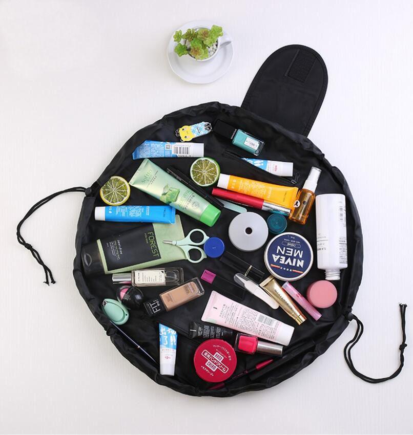 Lazy Travel Cosmetic Bag Professional Drawstring Makeup Case Women Make Up Handbag Organizer Storage Pouch Toiletry Wash Kit Bags