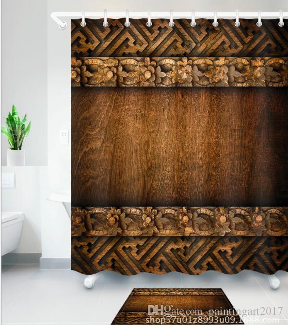 2019 3D Retro Wood Grain Print Bath Shower Curtains African Girl Modern Style Curtain For Bathroom Decor With 12 Hooks Floor Mats Sets From