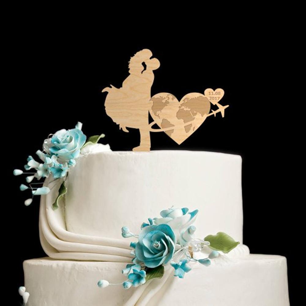 Grosshandel Reise Hochzeit Holz Kuchen Topper Holz Reise Thema Kuchen