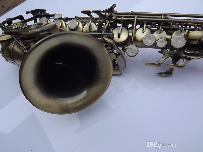 Античный сопрано саксофон BB Мелодия изогнутые саксофон высокая F# С случае античная медь моделирование сопрано саксофон