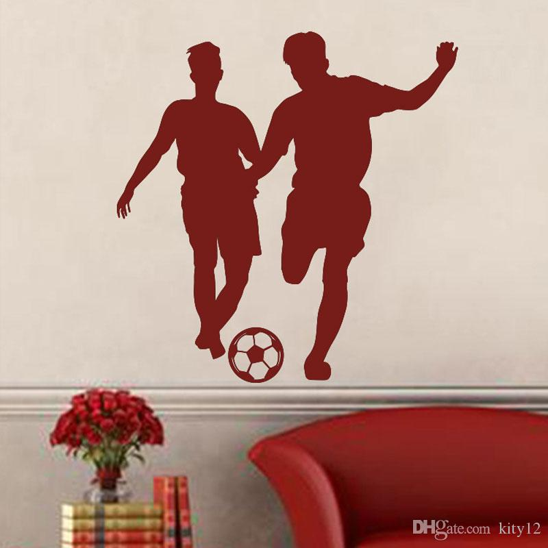 Wholesale New Soccer Players Football Wall Stickers Wall Decal For Kids Room Sport Boy Bedroom Mural Home Decor