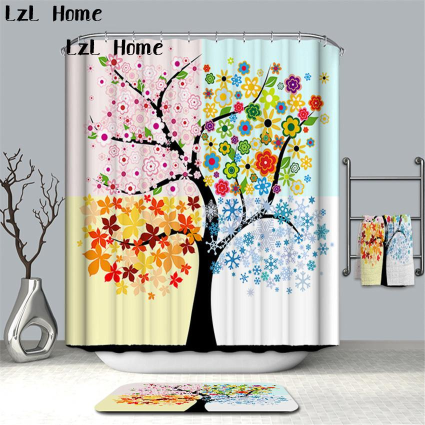 LzL Home Fancy Scenery Colorful Tree Green Leaf Shower Curtains Banheiro Rideaux Curtain Bathroom Waterproof Mildewproof UK 2019 From Lifegreen