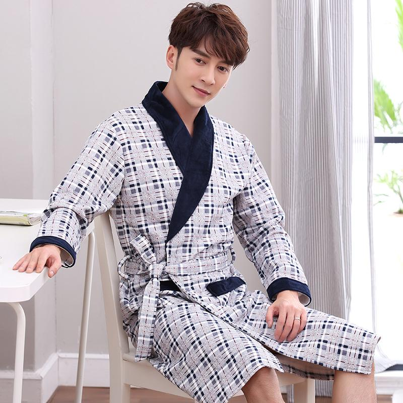 2019 Plaid Print Quilted Plus Size Xl 4xl Mens Robes Winter Male