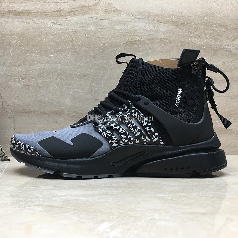 meilleure valeur 05ee6 0c1e6 2018 acronyme de haute qualité Air Presto MID blanc noir chaud chaussures  de course de lave haute fonction d'aide fermeture à glissière couture ...
