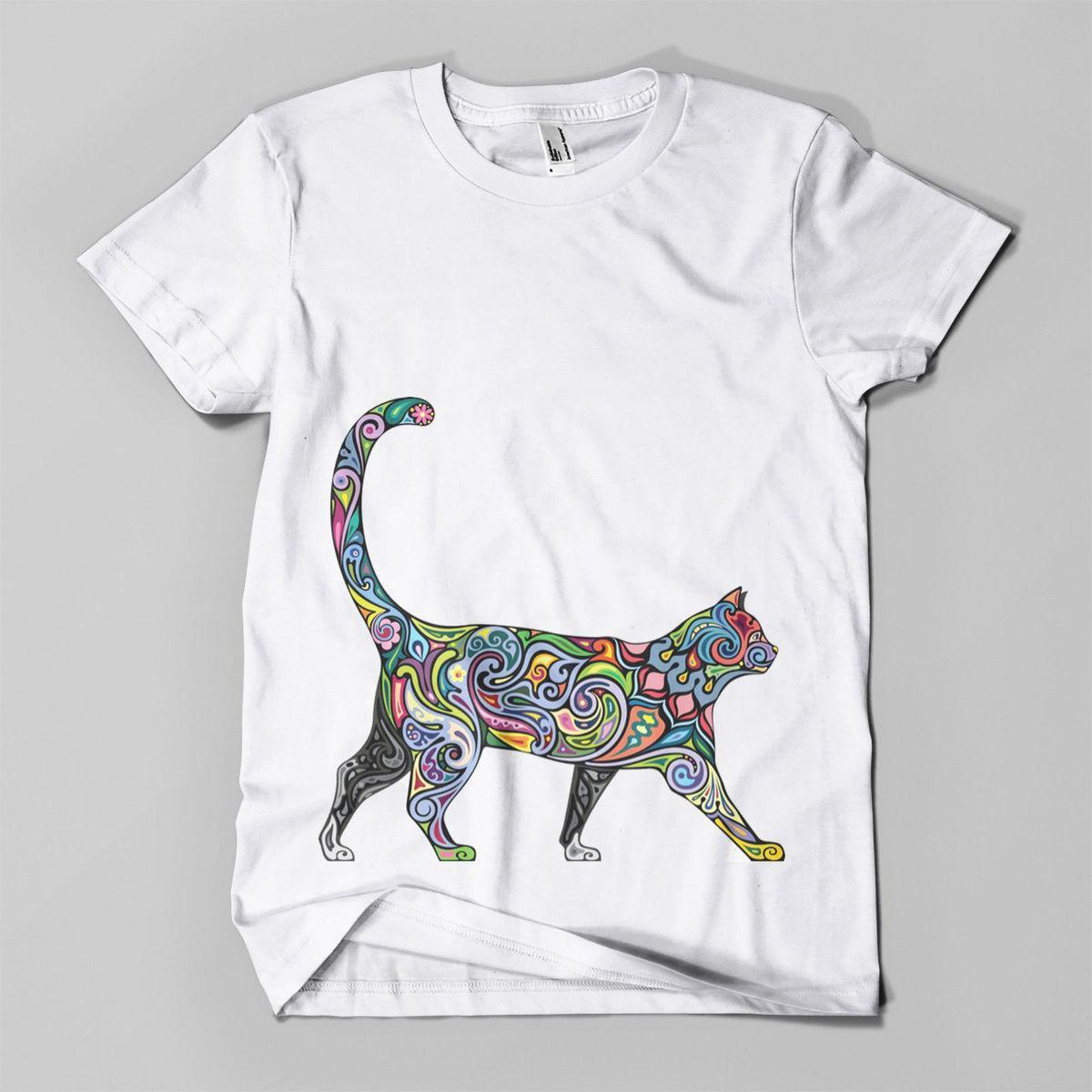 e17de0158 Floral Cat #1 Printed T Shirt Hipster Design Meow Feline Mens Girls Tee Top  New Funny Clothing Casual Short Sleeve Tshirts Quirky T Shirt Awesome T  Shirts ...