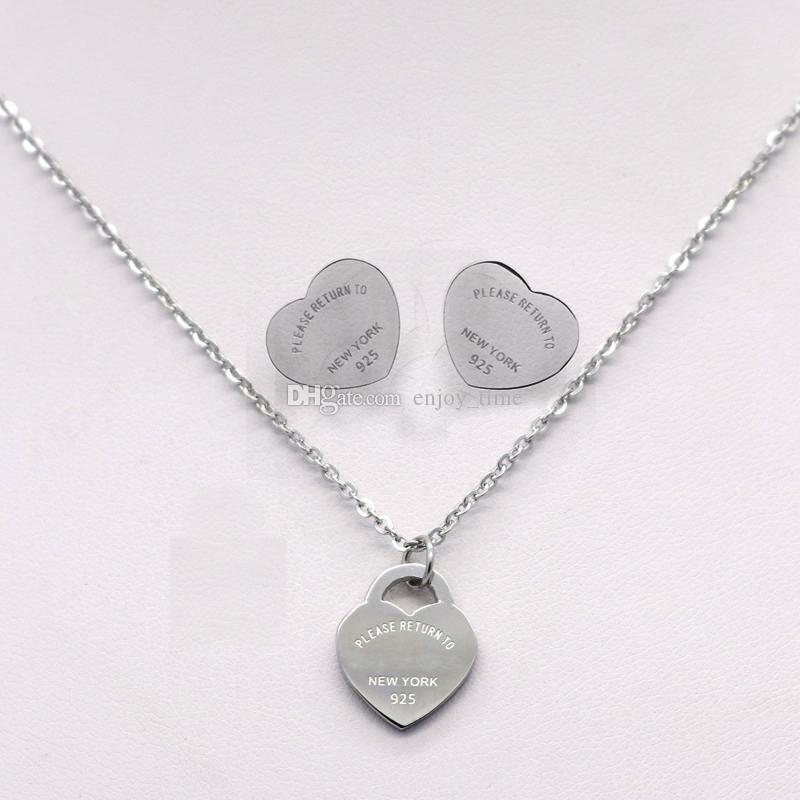 Marca de luxo de Prata Em Aço Inoxidável T Logotipo Coração Amor Brincos Colar Para Mulheres Cartas Brincos Colares de Jóias de Casamento