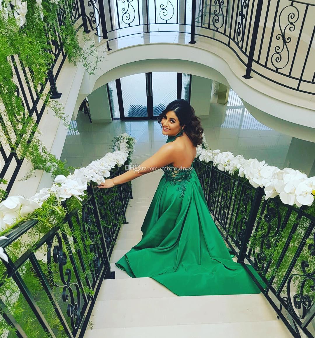2018 New Backless Verde Vestidos de Baile Halter Apliques de Alta Baixa Sexy Cetim Árabe À Noite Partido Pageant Vestidos Vestidos De Fiesta Personalizado