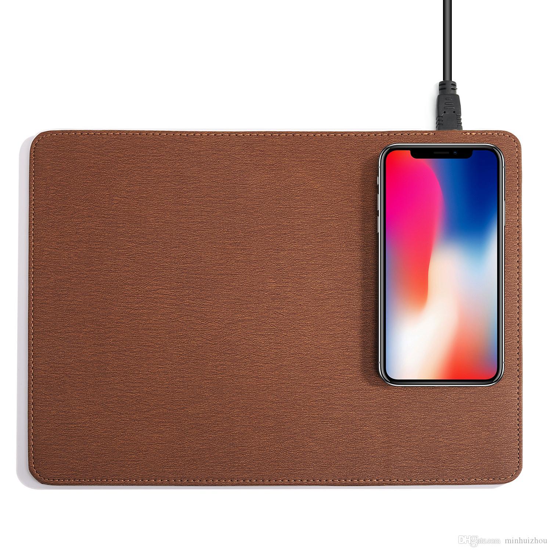 Kablosuz taşınabilir şarj Mouse Pad Anti-slayt Cep QI Telefon Şarj iphone 8 artı Samsung S8 iPhone Android Akıllı Cep Telefonu