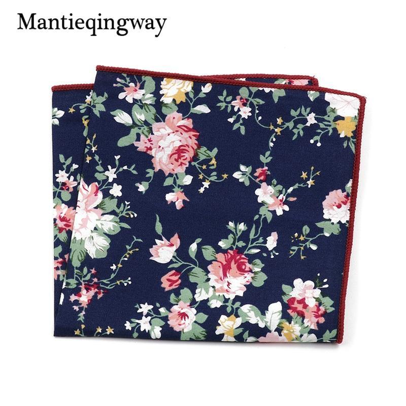 Mantieqingway Cotton Handkerchief Print Vintage Floral Pocket Square for Men 15 PCS