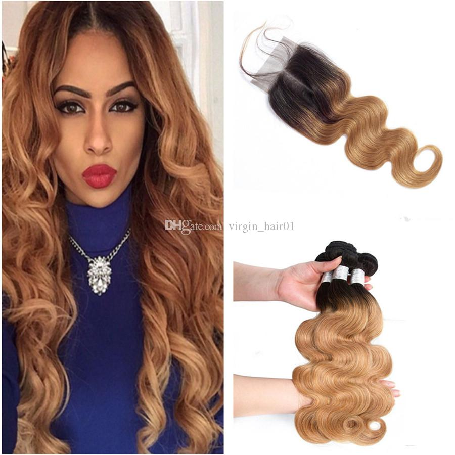 Honey Blonde Ombre 4x4 Lace Closure With 3 Bundles Body Wave 1B/27 Light Brown Two Tone Brazilian Virgin Hair Weaves With Closure