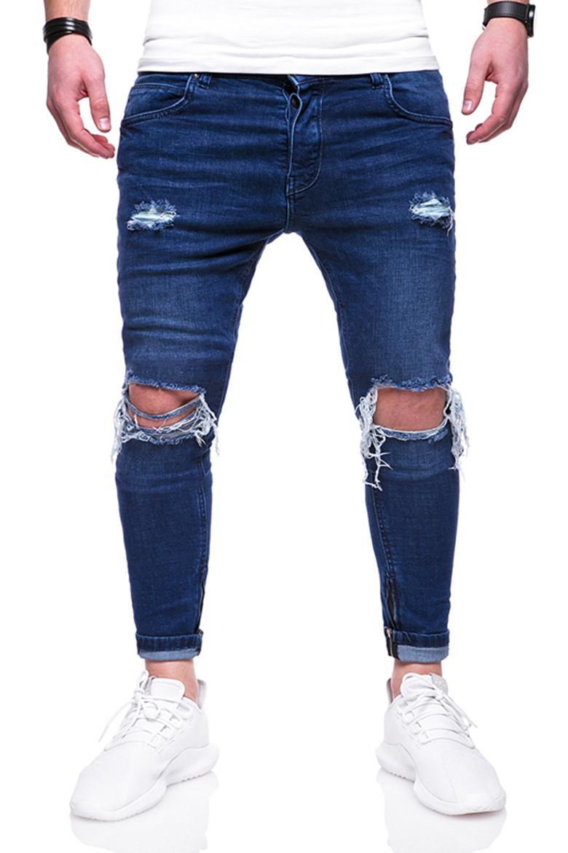 93cfb904b3 Compre Agujeros Rasgados Desgastados De La Rodilla De Los Hombres  Pantalones Vaqueros Negros Azules Slim Fit Jeans Hombres Hip Hop Biker  Streetwear Denim ...